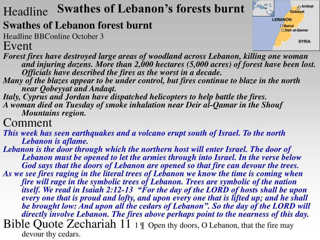Swathes of Lebanon's forests burnt