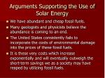 arguments supporting the use of solar energy