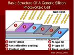 basic structure of a generic silicon photovoltaic cell