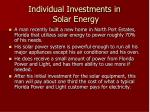 individual investments in solar energy