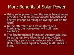 more benefits of solar power