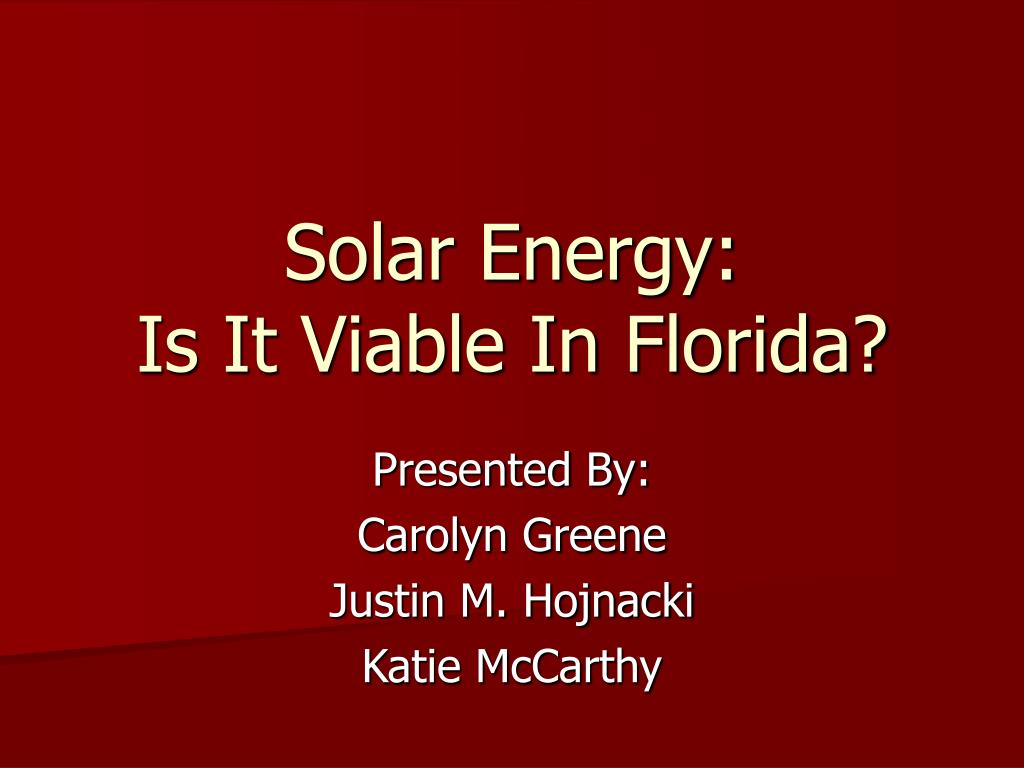 solar energy is it viable in florida l.