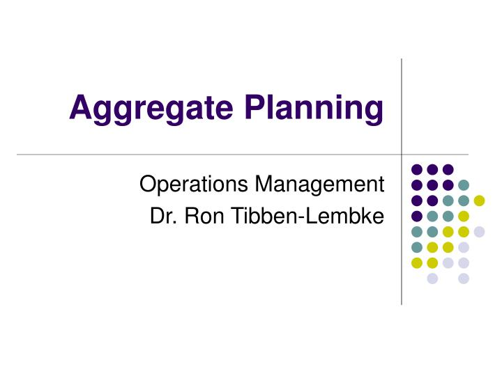 aggregate planning n.