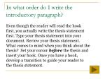 in what order do i write the introductory paragraph