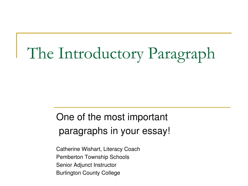 the introductory paragraph l.
