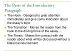 the parts of the introductory paragraph