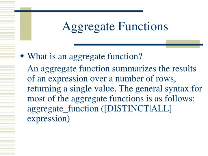 Aggregate functions2