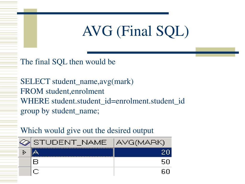 AVG (Final SQL)