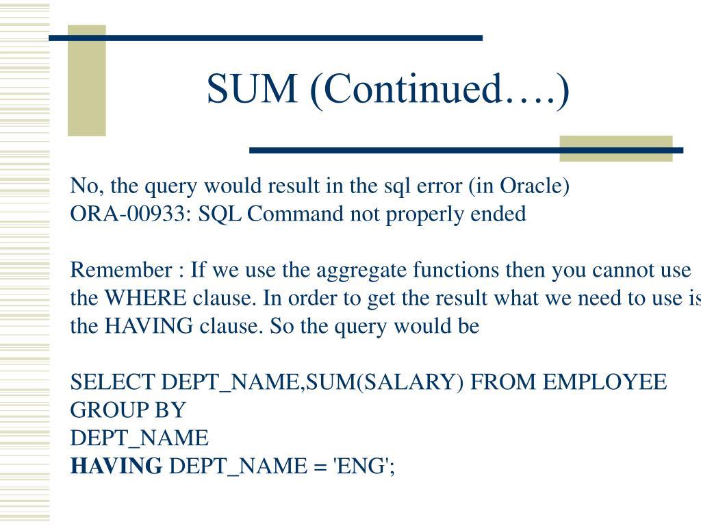 SUM (Continued….)