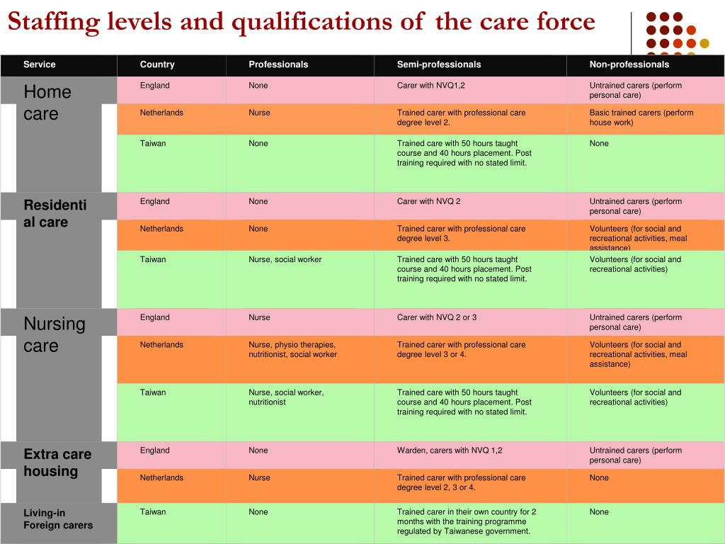 Staffing levels and qualifications of the care force