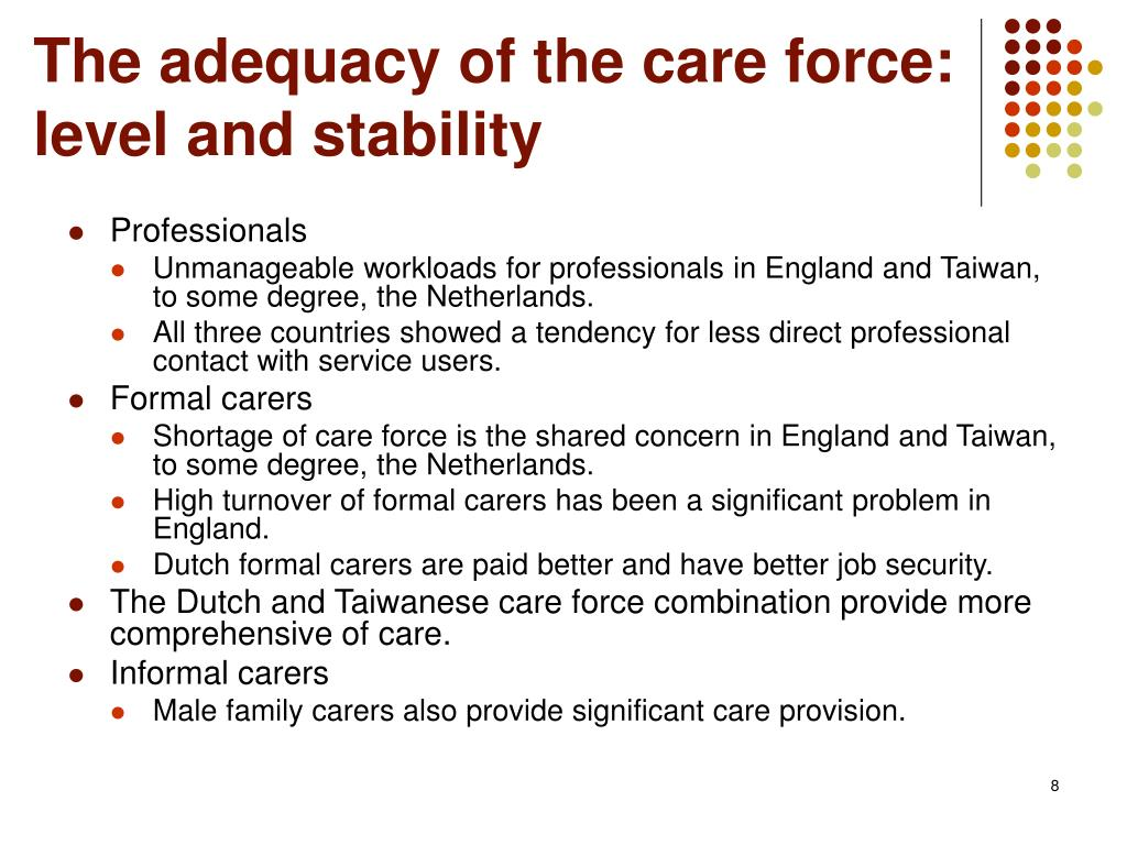 The adequacy of the care force: