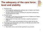 the adequacy of the care force level and stability