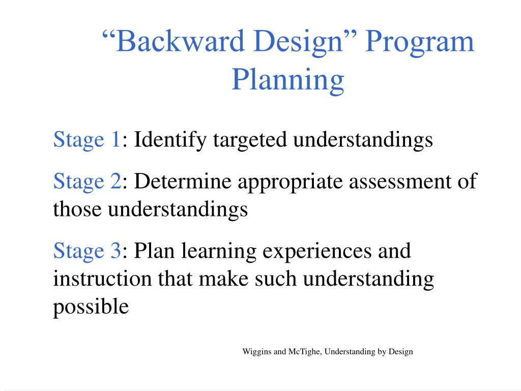 """Backward Design"" Program Planning"