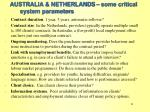 australia netherlands some critical system parameters