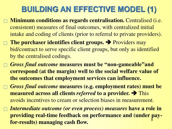 BUILDING AN EFFECTIVE MODEL (1)