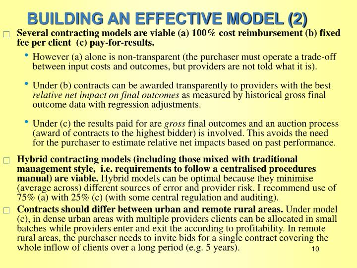 BUILDING AN EFFECTIVE MODEL (2)