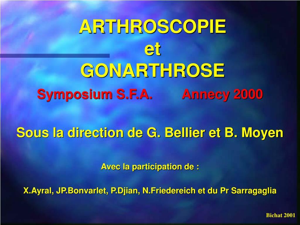 arthroscopie et gonarthrose l.
