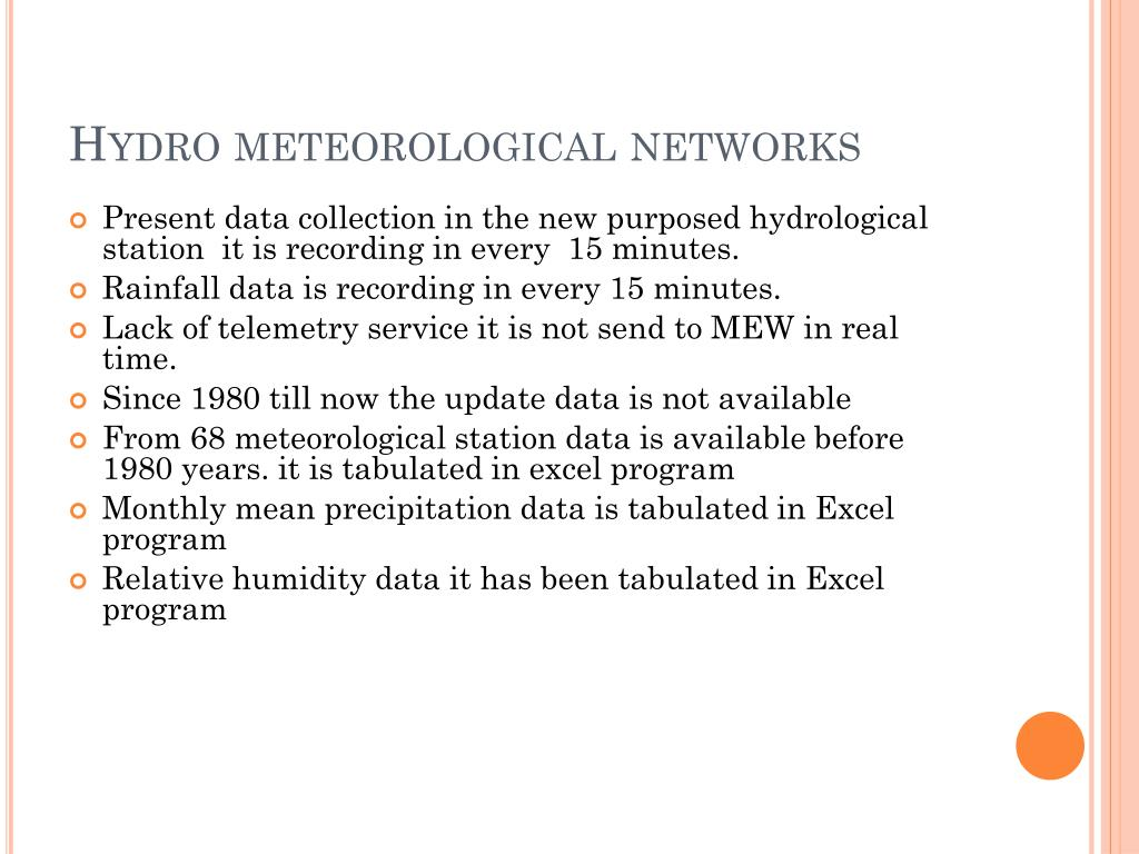 Hydro meteorological networks