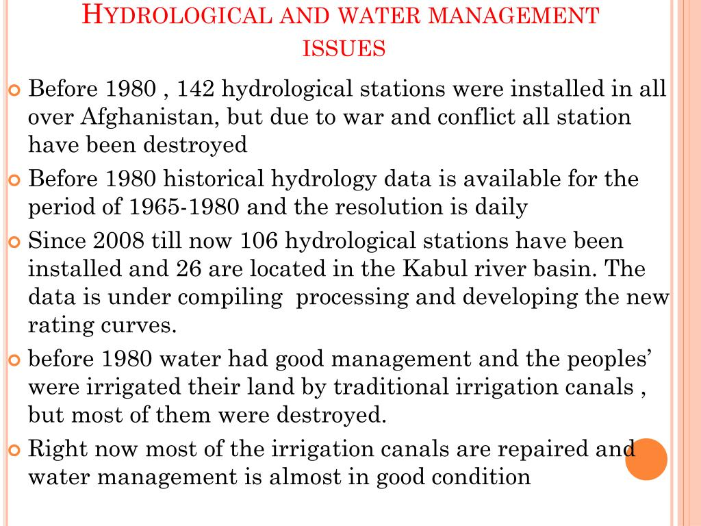 Hydrological and water management