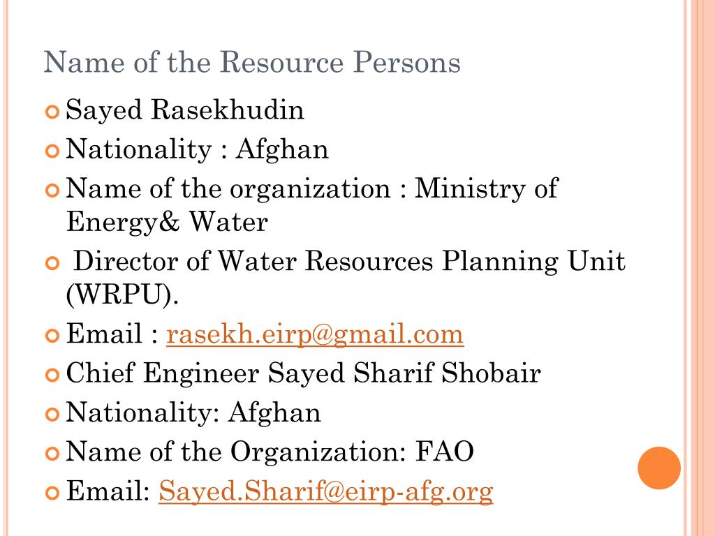 Name of the Resource Persons