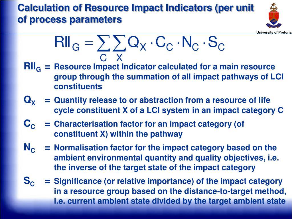 Calculation of Resource Impact Indicators (per unit of process parameters