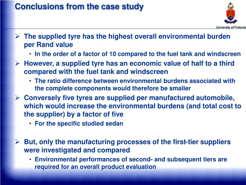 Conclusions from the case study