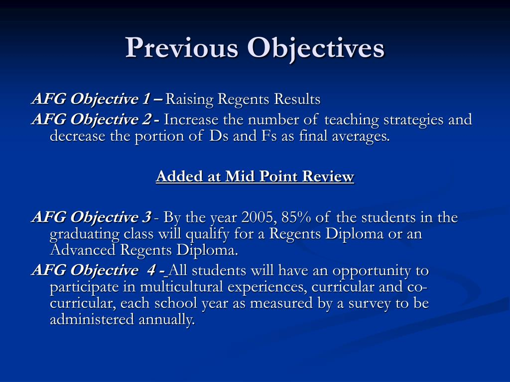 Previous Objectives