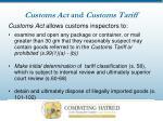 customs act and customs tariff