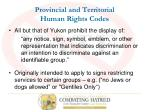 provincial and territorial human rights codes