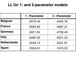 ll f r 1 and 2 p arameter models