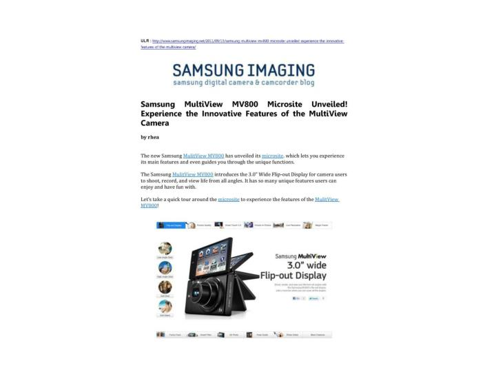Samsung multiview mv800 microsite unveiled