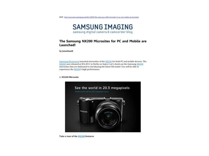 The samsung nx200 microsites for pc and mobile are launched