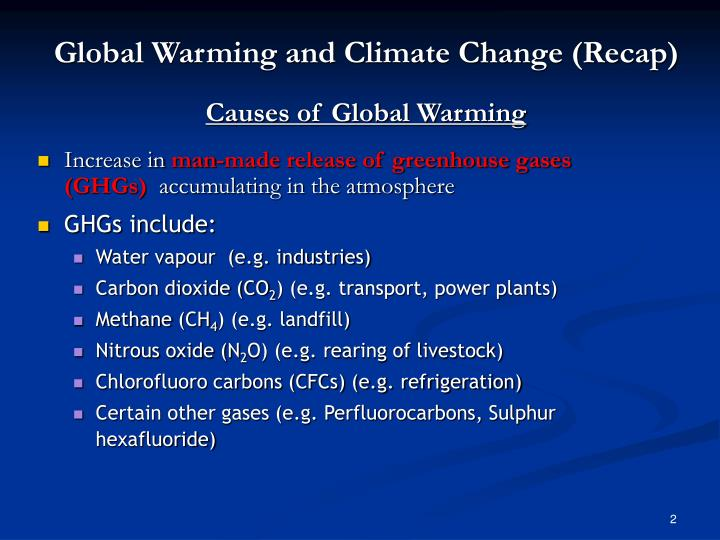 Global warming and climate change recap causes of global warming