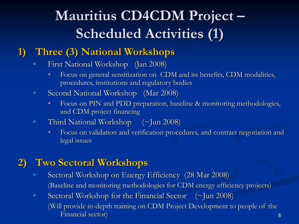 Mauritius CD4CDM Project – Scheduled Activities (1)