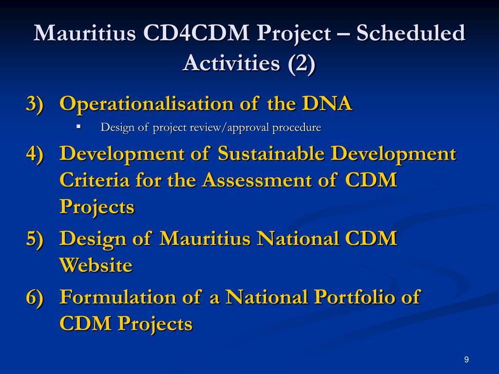 Mauritius CD4CDM Project – Scheduled Activities (2)
