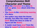 comprehension skill character and theme