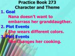 practice book 273 character and theme