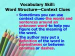 vocabulary skill word structure context clues