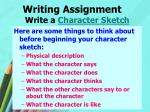writing assignment write a character sketch1