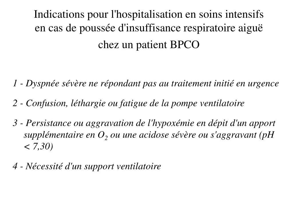 Indications pour l'hospitalisation en soins intensifs