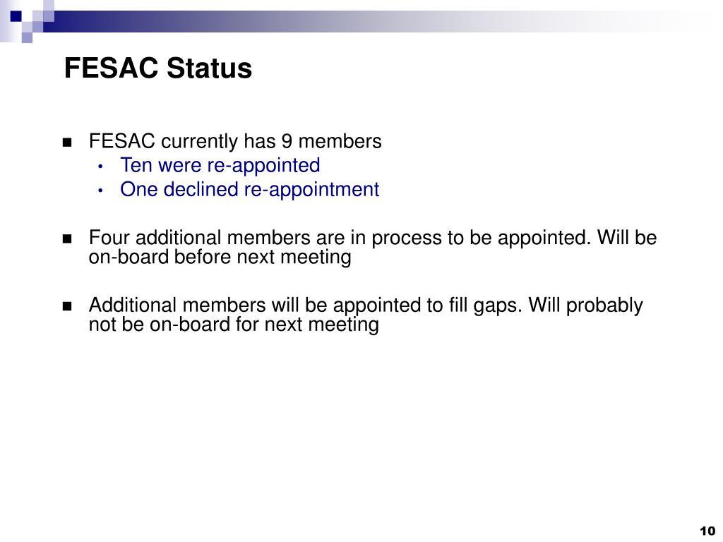 FESAC Status