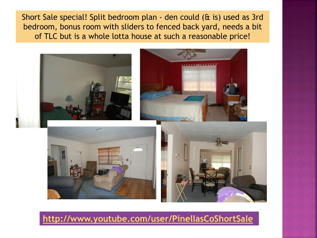 Short Sale special! Split bedroom plan - den could (& is) used as 3rd bedroom, bonus room with sliders to fenced back yard, needs a bit of TLC but is a whole