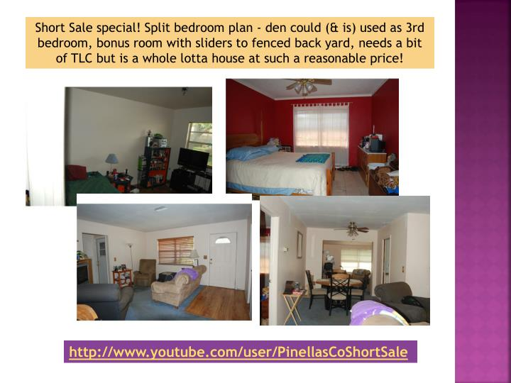 Short Sale special! Split bedroom plan - den could (& is) used as 3rd bedroom, bonus room with slide...