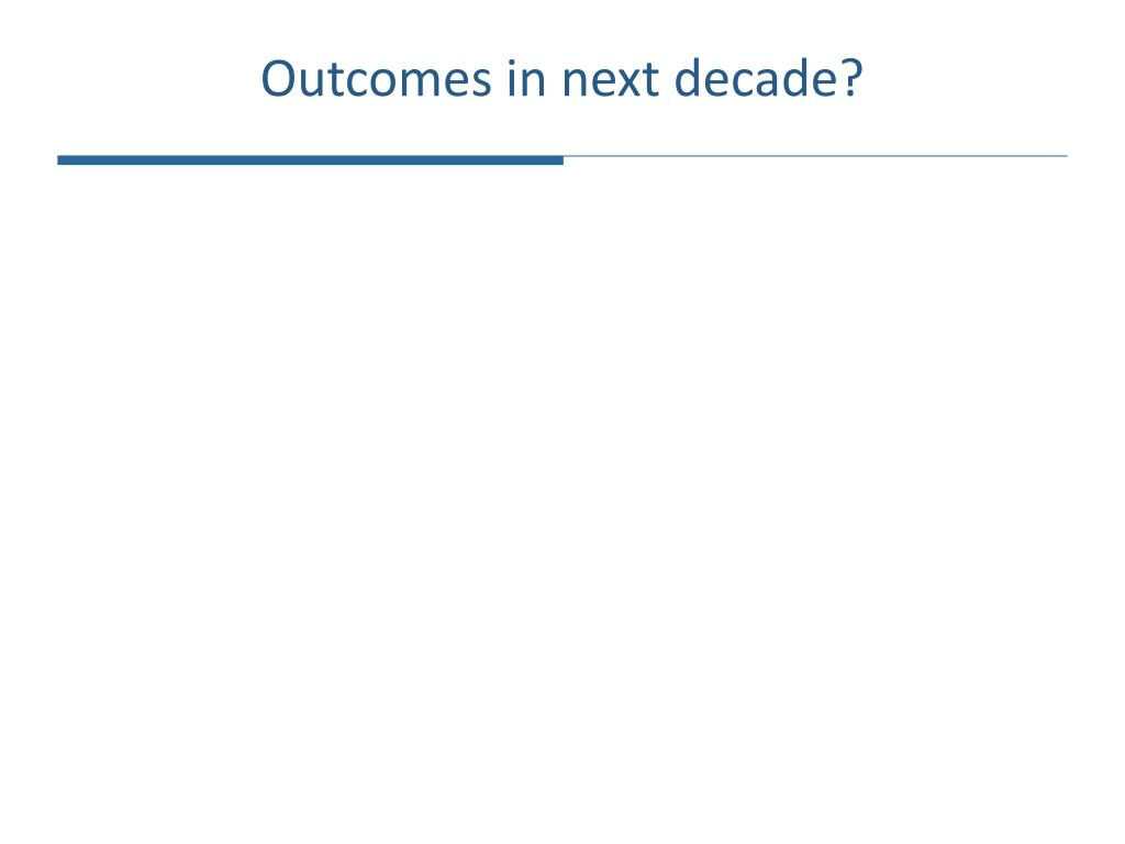 Outcomes in next decade?