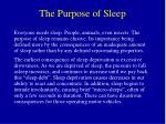 the purpose of sleep