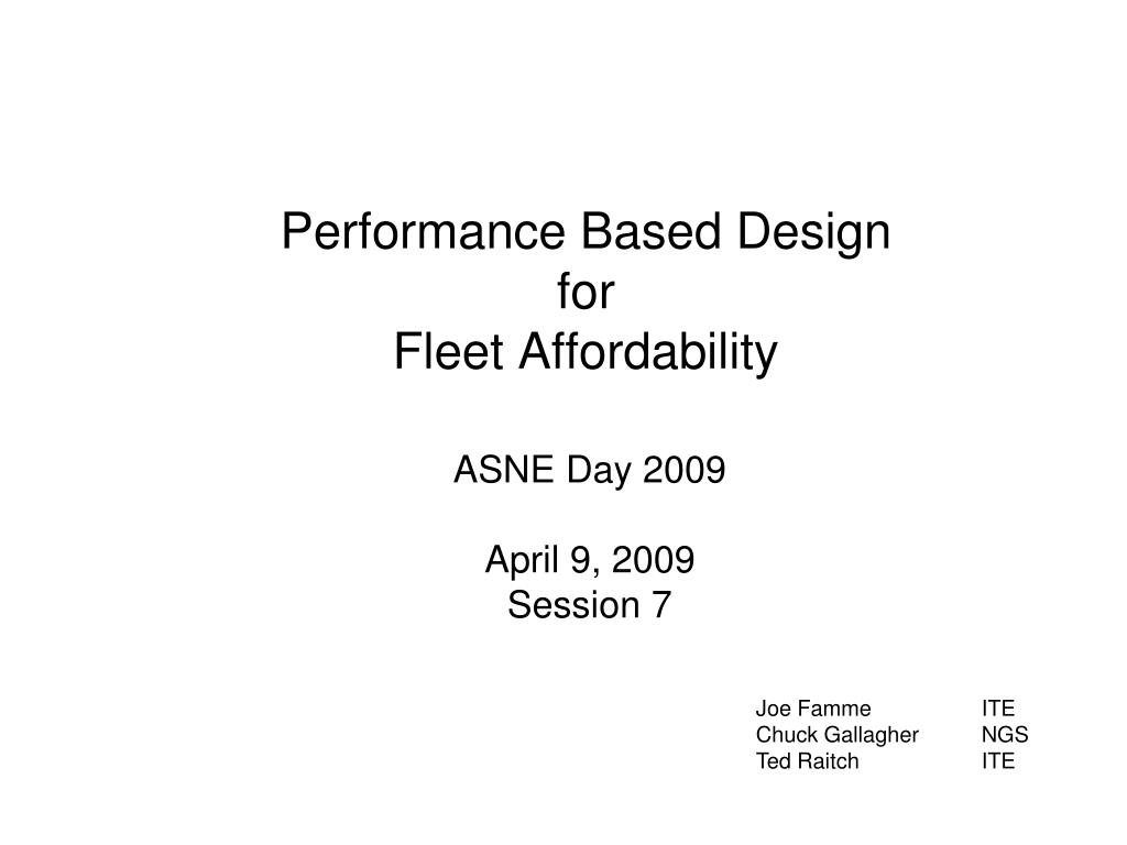 performance based design for fleet affordability l.