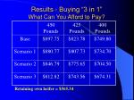 results buying 3 in 1 what can you afford to pay