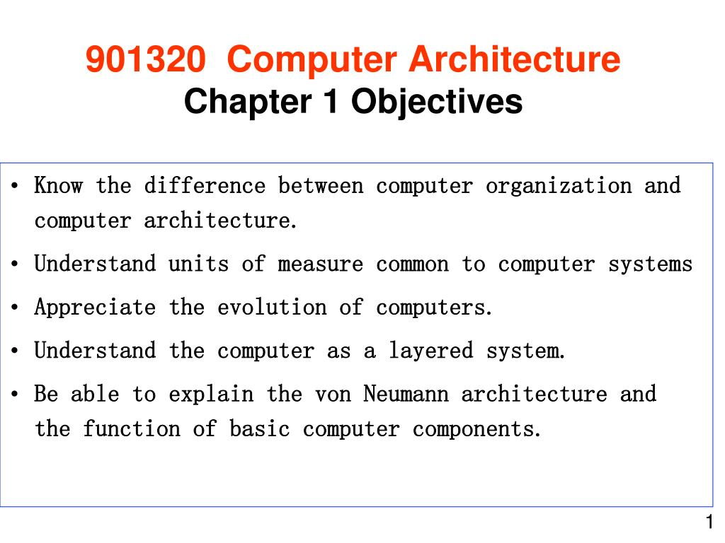 901320 computer architecture chapter 1 objectives l.