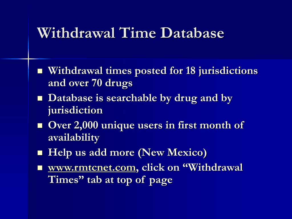 Withdrawal Time Database