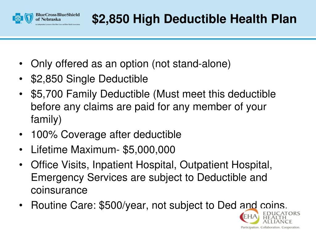 $2,850 High Deductible Health Plan